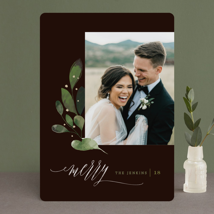 """Botanical Spray"" - Holiday Photo Cards in Merlot by Lori Wemple."