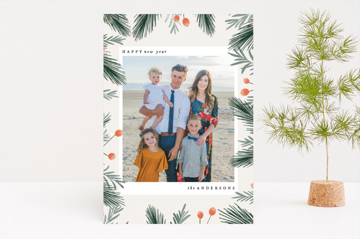 """Holiday Blooms"" - Holiday Photo Cards in Fern by Leah Bisch."