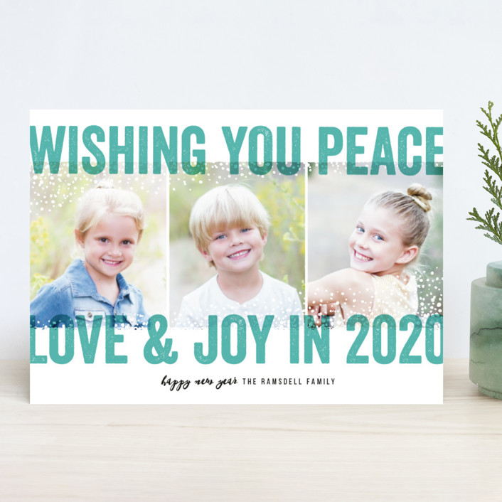 """""""Bold Snow"""" - Holiday Photo Cards in Aqua by Michelle Taylor."""