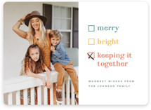 This is a yellow holiday photo card by Pink House Press called Keeping it together with standard printing on smooth signature in standard.