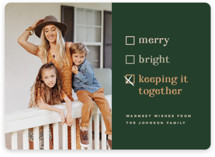This is a green holiday photo card by Pink House Press called Keeping it together with standard printing on smooth signature in standard.