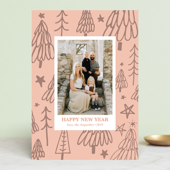 """""""Christmas Tree Graffiti"""" - Modern Holiday Photo Cards in Blush by Erika Firm."""