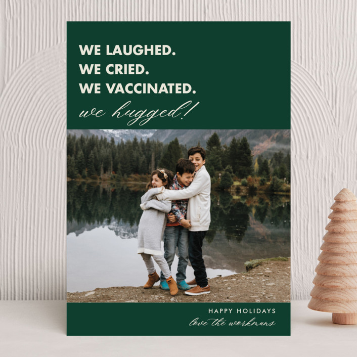 """""""We Made It"""" - Funny Holiday Photo Cards in Pine by Beth Schneider."""