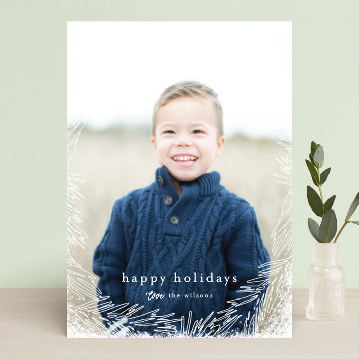 """""""Delicate Branch Border"""" - Holiday Photo Cards in Snow by Melanie Severin."""