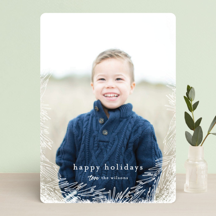 """Delicate Branch Border"" - Holiday Photo Cards in Olive by Melanie Severin."
