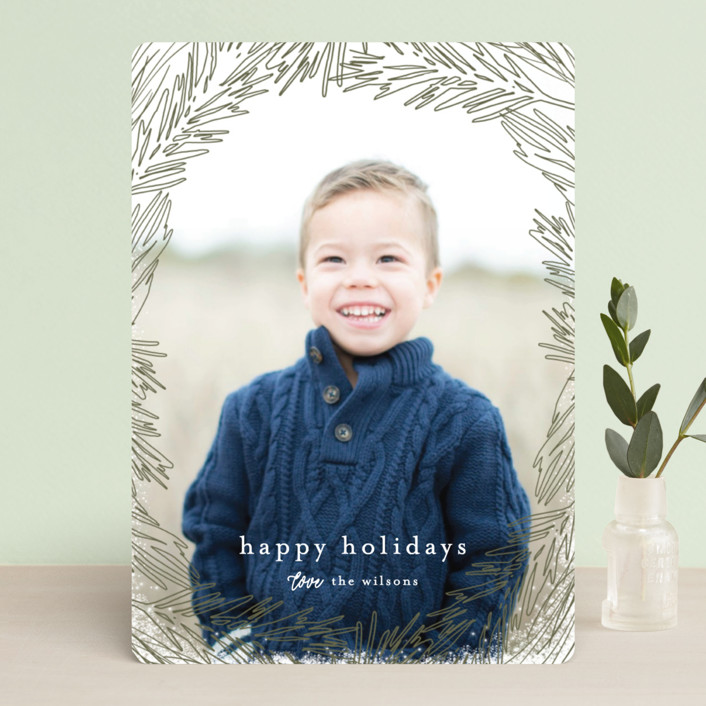 """""""Delicate Branch Border"""" - Holiday Photo Cards in Olive by Melanie Severin."""