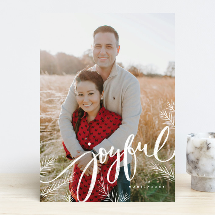 """Joyful pines"" - Holiday Photo Cards in Snowflake by Wildfield Paper Co.."