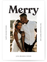 This is a white holiday photo card by Chryssi Tsoupanarias called Merry Color Overlay with standard printing on smooth signature in standard.