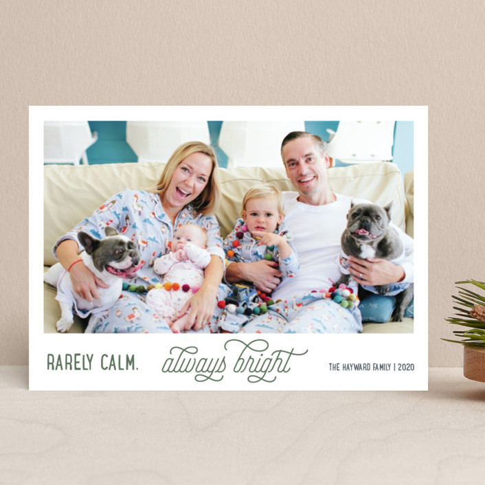 """Rarely Calm Always Bright"" - Funny Holiday Photo Cards in Cobalt by Jula Paper Co.."