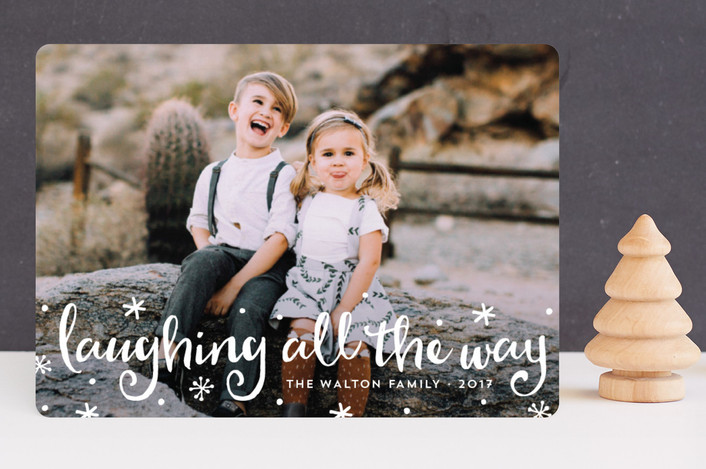 """""""Laughter & Love"""" - Funny Holiday Photo Cards in North Star by Anne Holmquist."""