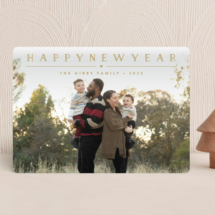 """""""Height of Happiness"""" - Holiday Photo Cards in Golden by Carolyn MacLaren."""