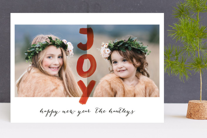 """Happy Joy"" - Holiday Photo Cards in Cardinal by Magdalena Earnest."