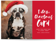 This is a red holiday photo card by Lea Delaveris called I ate the nice list with standard printing on smooth signature in standard.