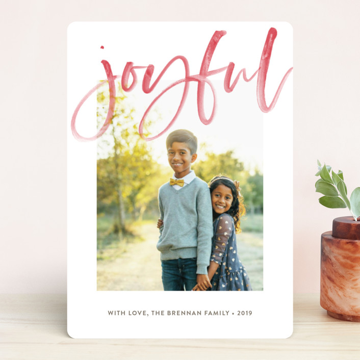 """""""Autograph"""" - Holiday Photo Cards in Raspberry by Waui Design."""