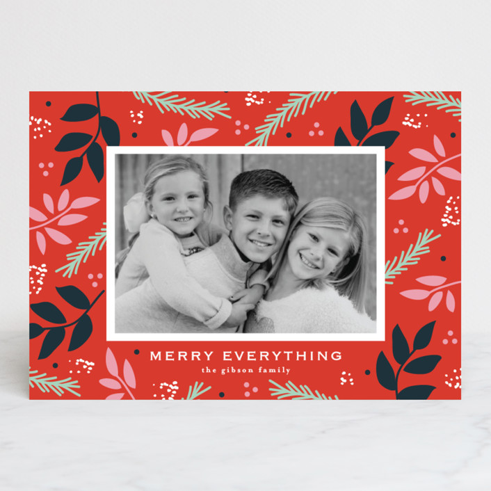 """notably merry"" - Holiday Photo Cards in Cherry by lena barakat."