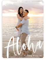 This is a white holiday photo card by Pine Street Creative called Aloha with standard printing on smooth signature in standard.