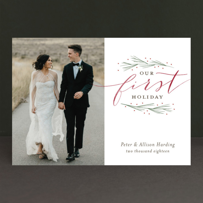 """Our First Married Christmas"" - Holiday Photo Cards in Pine by Sarah Guse Brown."