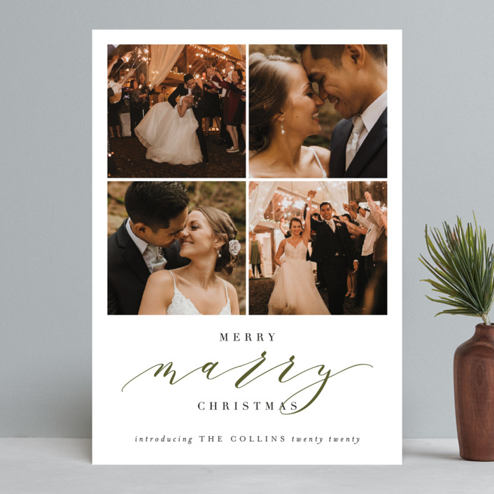 """Merry Marry"" - Holiday Photo Cards in Forest by Haley Warner."