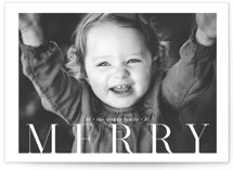This is a white holiday photo card by Adam K called Merry 1 with standard printing on doublethick in standard.