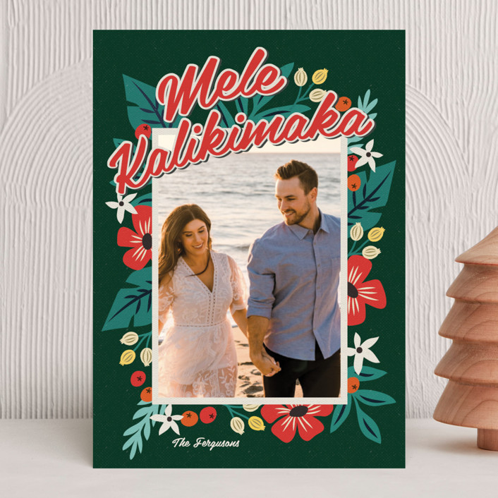 """""""Bold Tropic Florals"""" - Holiday Photo Cards in Midnight by Nam Bourassa."""