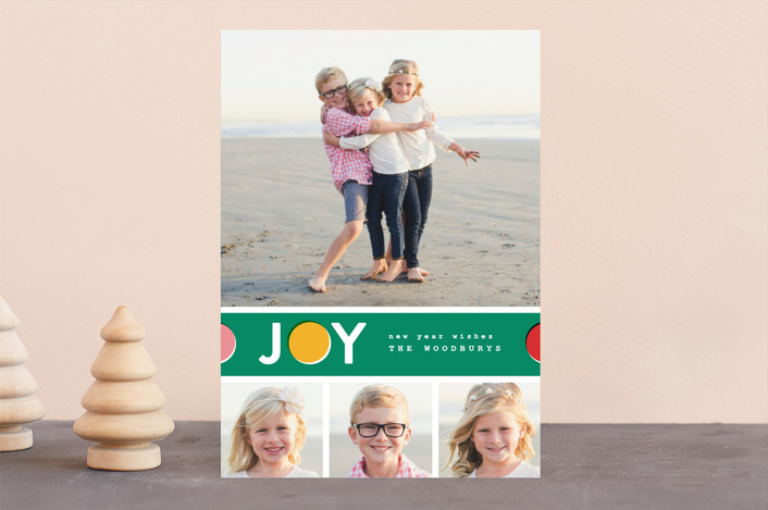 """Joy Dot"" - Modern Holiday Photo Cards in Emerald by Pistols."