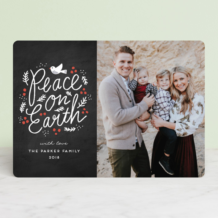 """Peaceful Branches"" - Vintage Holiday Photo Cards in Chalkboard by iamtanya."