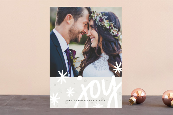 """Immense Joy"" - Bohemian Holiday Photo Cards in Cloud by Michelle Taylor."