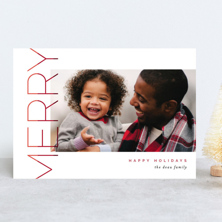 """""""Merry Stacked"""" - Holiday Photo Cards in Cranberry by Pixel and Hank."""