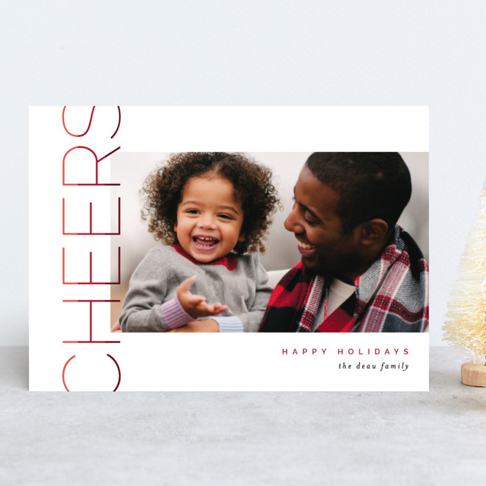 """Merry Stacked"" - Holiday Photo Cards in Cranberry by Pixel and Hank."