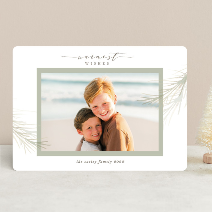"""""""holiday wisp"""" - Holiday Photo Cards in Sage by Melinda Denison."""