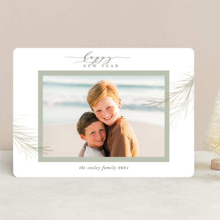 """holiday wisp"" - Holiday Photo Cards in Sage by Melinda Denison."