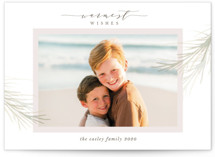 This is a pink holiday photo card by Melinda Denison called holiday wisp with standard printing on smooth signature in standard.