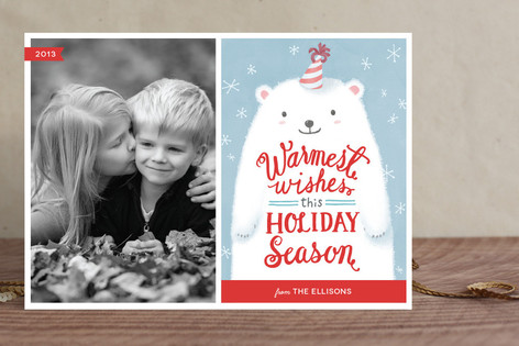 Fuzzy Polar Bear Holiday Photo Cards
