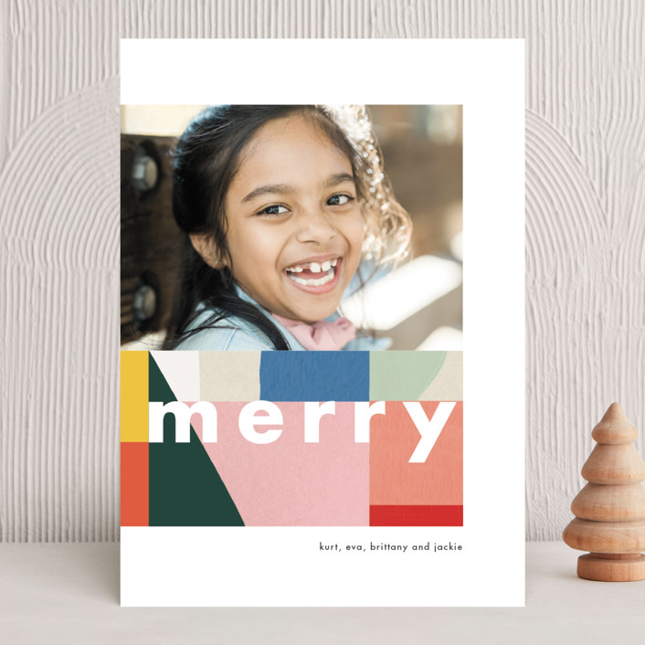 """""""Spectrum Merry"""" - Modern Holiday Photo Cards in Wintermint by Meg Gleason."""