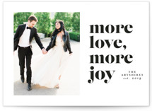 This is a black holiday photo card by Lea Delaveris called More love more joy with standard printing on smooth signature in standard.