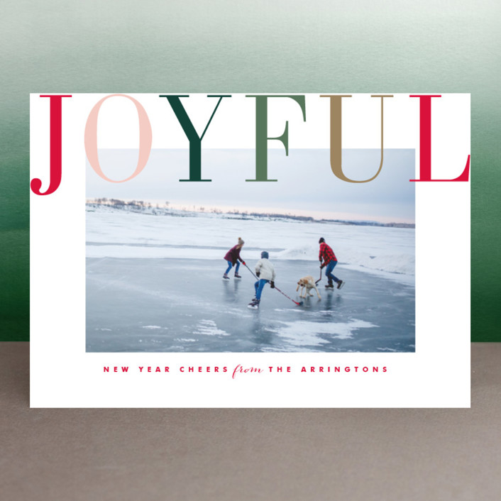 """Joyful Multi"" - Holiday Photo Cards in Blush by Kristie Kern."