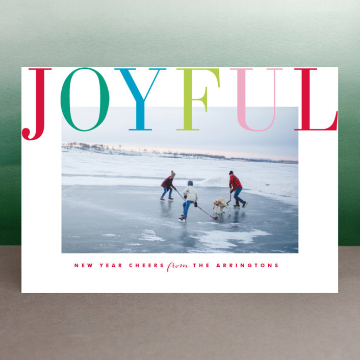 """Joyful Multi"" - Holiday Photo Cards in Blush by Kristie Kern."