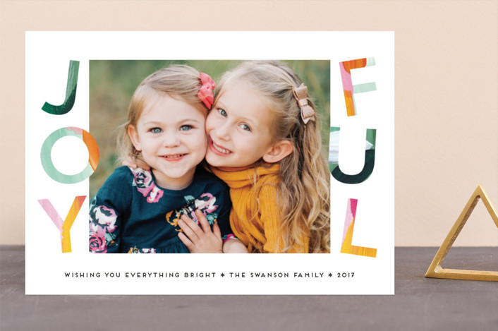 """Painted Joyful"" - Holiday Photo Cards in Evergreen by Petra Kern."