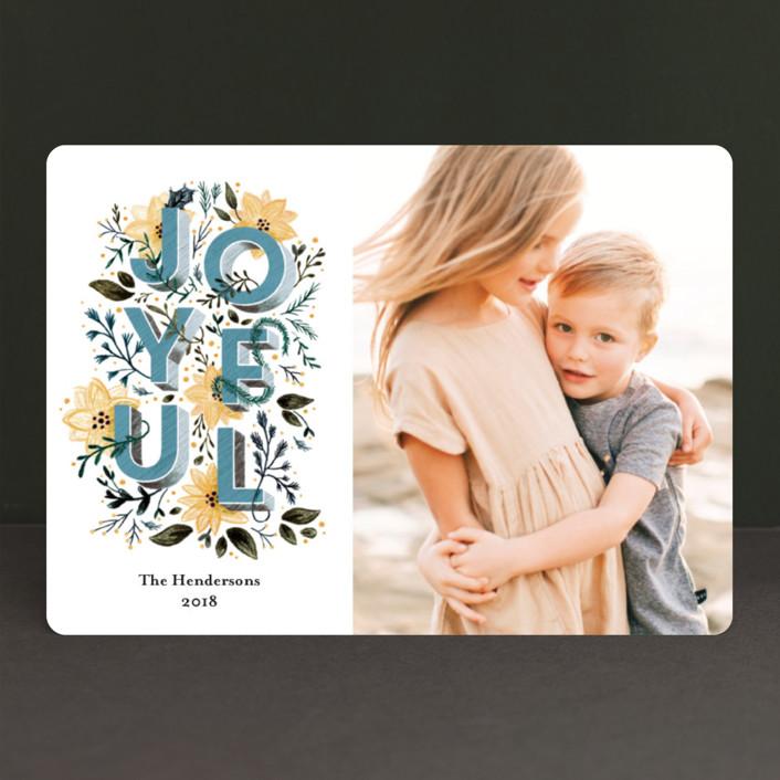 """joyful always"" - Holiday Photo Cards in Aqua by Aspacia Kusulas."