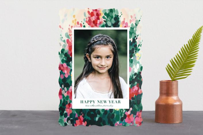 """Hollyhocks"" - Bohemian Holiday Photo Cards in Evergreen by Iron Range Artery."