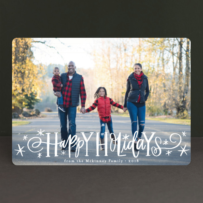 """""""Whimsical Script"""" - Holiday Photo Cards in Starlight by Alethea and Ruth."""