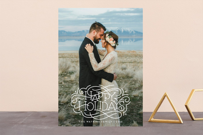 """""""Flourished Holidays"""" - Holiday Photo Cards in Snow by Laura Bolter Design."""