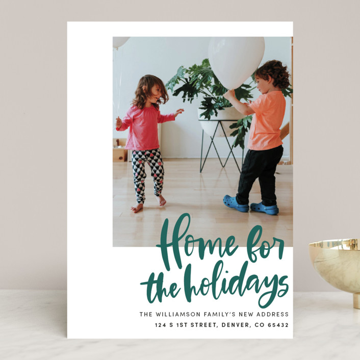 """Home Sweet Holiday Home"" - Holiday Photo Cards in Leaf by Vine and Thistle."