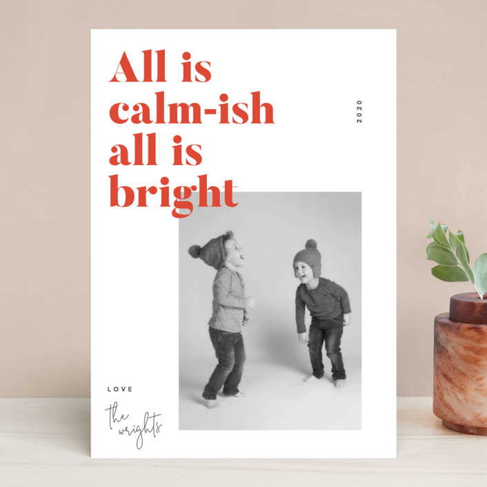 """""""Calm-ish"""" - Holiday Photo Cards in Terracotta by Robert and Stella."""
