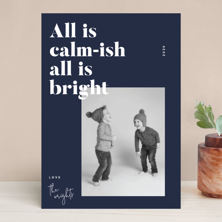 """""""Calm-ish"""" - Holiday Photo Cards in Winter Night by Robert and Stella."""