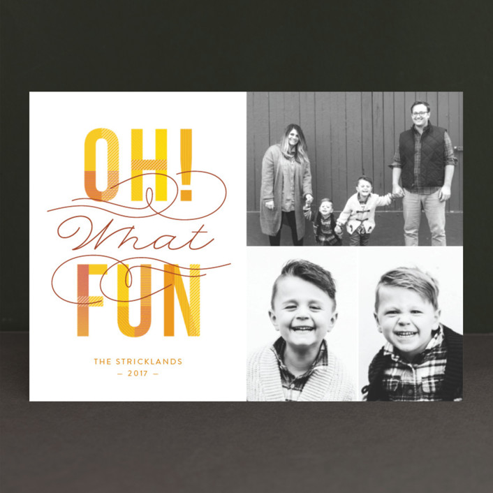 """""""Oh! What Fun"""" - Holiday Photo Cards in Cranberry by Ann Gardner."""