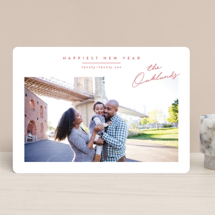 """Noted"" - Holiday Photo Cards in Cherry by Jessica Williams."