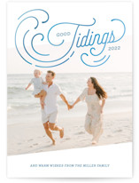 This is a blue holiday photo card by Paige Rothhaar called Holiday Tides with standard printing on smooth signature in standard.
