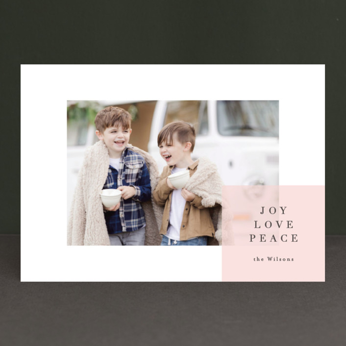 """spacious"" - Holiday Photo Cards in Blush by Carrie ONeal."