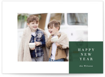 This is a green holiday photo card by Carrie ONeal called spacious with standard printing on smooth signature in standard.